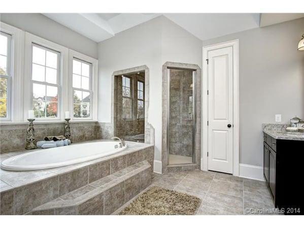 Luxury bath with soaking tub, steam shower and plenty of elbow r