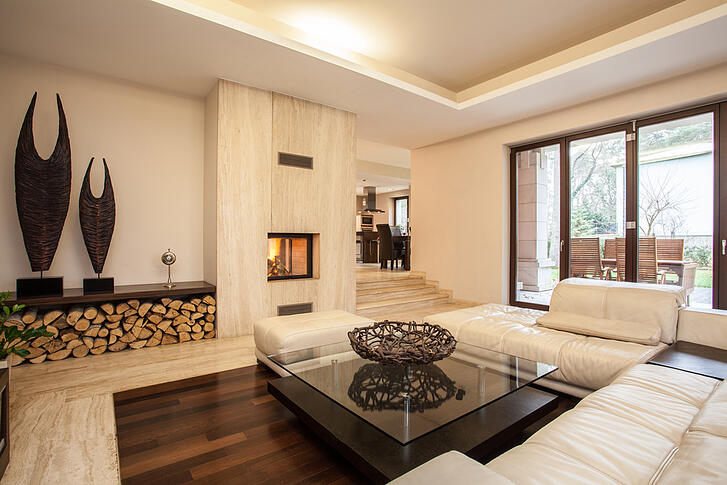 Travertine house interior of beige living room